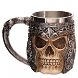Funnytoday365 Stainless Steel Liner Drinking Skull Cup Resin 3D Skull Tankard Horror Decor Cup For Halloween Bar Party Mens Gifts