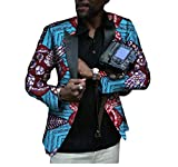 Buildhigh Mens Africa Printed Slim Small Blazer Casual Classic Suit Jacket 2 M