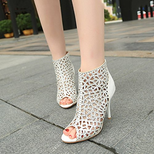 Creux Strass Chaussures Hauts 235mm US6 Mariage 37 Sandales Banquet Single Height Femmes female 8cm Talons Sexy Height 8cm UK5 Femmes Taille Couleur Blanc shoes xO10OY