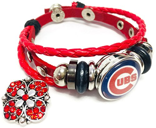 - Fashion Snap Jewelry MLB Chicago Cubs Logo Red Leather Bracelet W/Extra 18MM - 20MM Charm Baseball Fans