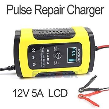 Amazon.com: Cargador de batería para coche, 5 Amp, 12 V ...