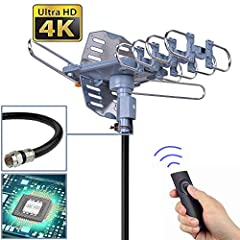 pingbingding Outdoor Amplified Digital HDTV Antenna - 150 Miles Range - 360° Rotation This outdoor HDTV antenna is designed to receive digital TV UHF/VHF signals while providing high quality HDTV picture. You can enjoy high definition televis...