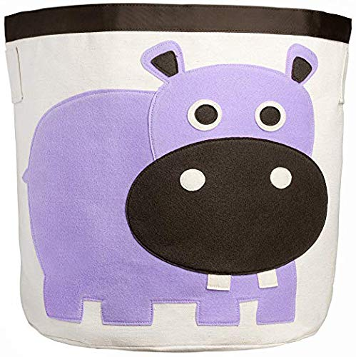 (Canvas Storage Bins for Kids Toys or Laundry Basket/Baby Hamper Large (Purple Hippo))