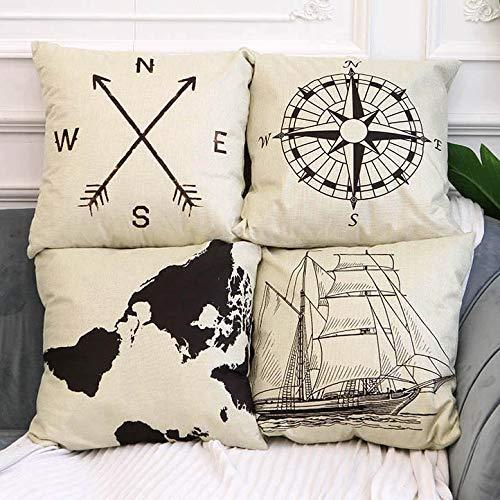 4 Pack Farmhouse Decorative Pillow Cover Home Decor Cotton Linen Nautical Style Throw Pillow Covers Set of 4 Rustic Sofa Throw Pillow Case Cushion Cover 18 x 18 Inch(Arrow,Map,Ship,Compass)
