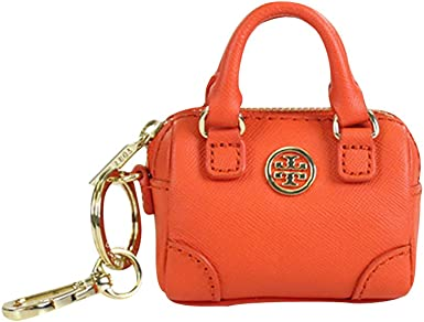 Amazon Com Tory Burch Robinson Saffiano Middy Satchel Coin Case With Keychain Blood Orange Clothing