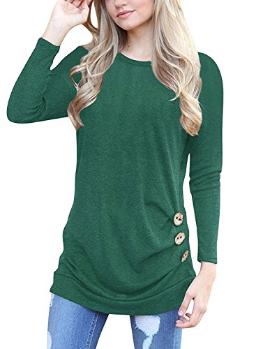 (MOLERANI Women's Casual Long Sleeve Round Neck Loose Tunic T Shirt Blouse Tops)