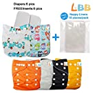 Baby Cloth Diapers Reusable Girls/Boys Pocket, 6 pcs + 6 Inserts