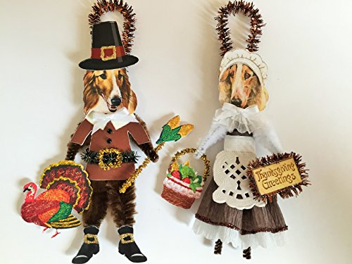 Borzoi THANKSGIVING PILGRIM ORNAMENTS Vintage Style Chenille Ornaments Set of 2