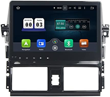 KUNFINE Android 9.0 8核自動車GPSナビゲーション マルチメディアプレーヤー 自動車音響 トヨタ ヴィオス TOYOTA VIOS/YARIS 2013 2014 2015自動車ラジオハンドル制御WiFiブルースティスト