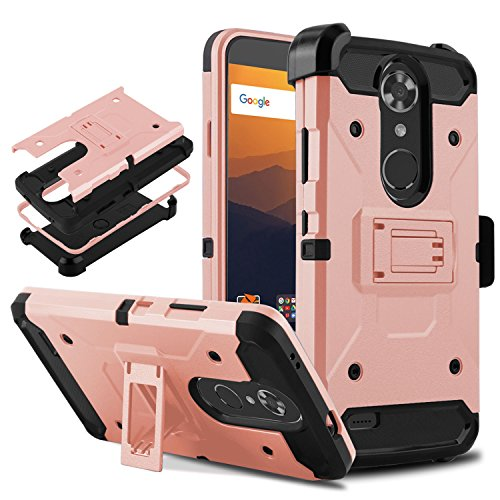 """TE Max XL Resistant Shockproof Armor Cell Phone Case Cover with Kickstand Belt Clip Holster Compatible ZTE Max XL/N9560/N986DL 6.0"""" (Rose Gold) ()"""