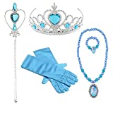 Hpwai Princess Little Girls Kids Elsa Party Favors Dress up Accessories, Gloves, Tiara, Wand, Necklace, Bracelet 5 Pieces Gift Set