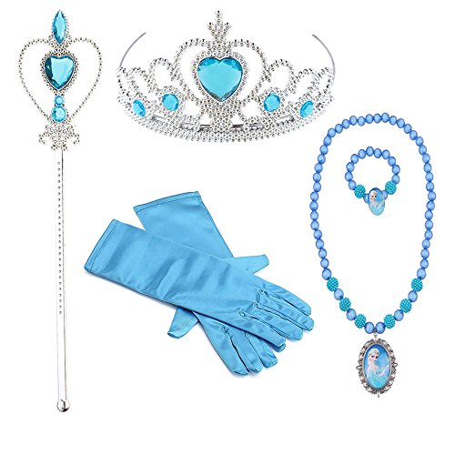 Hpwai Princess Little Girls Kids Elsa Party Favors Dress up Accessories, Gloves, Tiara, Wand, Necklace, Bracelet 5 Pieces Gift Set -
