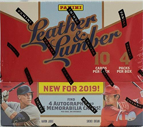 2019 Panini Leather & Lumber Baseball HOBBY box (4 pks/bx, 40 total cards incl.FOUR Memorabilia & FOUR Autograph cards)