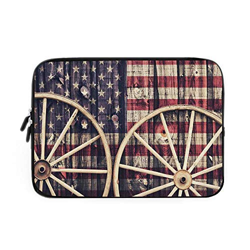 Western Laptop Sleeve Bag,Neoprene Sleeve Case/Big Antique Cart Carriage Wheels with American Flag in Retro Vintage Colors New World Print/for Apple MacBook Air Samsung Google Acer HP DELL Le (Battery Print Cart)