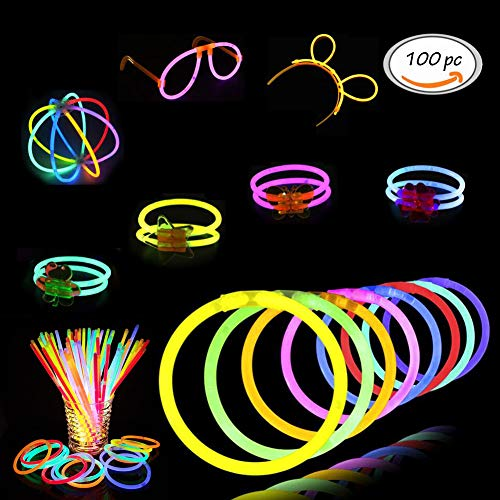 Price comparison product image Glowsticks, Dark Light Sticks,100 Light up Toys Glow Stick Bracelets Mixed Colors Party Favors Supplies (Tube of 100) - Perfect for Birthdays, Parties, Performances, Halloween & More!