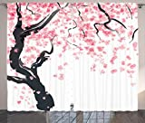 Ambesonne Japanese Curtain House Decor, Japanese Cherry Tree Blossom in Watercolor Painting Effect Oriental Stylized Art Deco, Living Room Bedroom Curtain 2 Panels Set, 108 X 84 Inches, Black Pink Review
