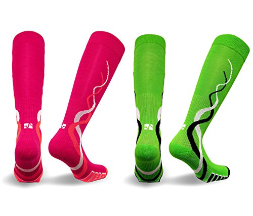 Mozlly Value Pack - Vitalsox Womens Pink AND Green Silver Drystat Compression Socks - Large - VTW0316 - Matrix Training, Recovery - 4 Way Stretch - Stops Odor and Bacteria (2 Items) -