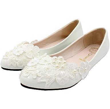 new product 96134 d777f SERAPH BH127 Frauen Blumen Spitze Ballerina Flache Geschlossene Zehe Perlen  Braut Hochzeit Schuhe Weiß