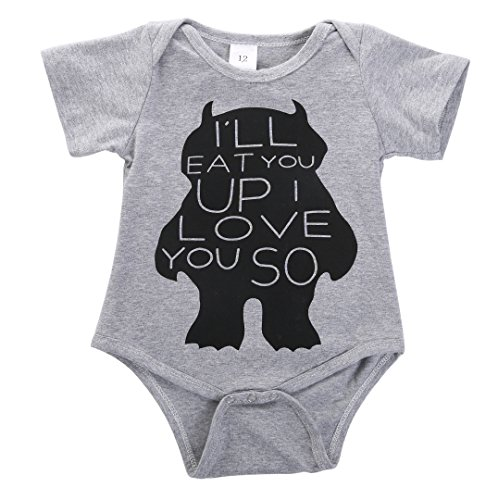 Baby Boys Girls Monster Romper Newborn Kids Bodysuit Jumpsuit Clothes Outfits -Glosun (9-12 (Kids Monster Outfit)