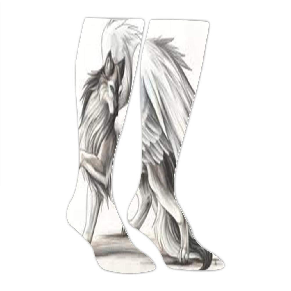 Fashion and Interesting Socks Mens Sketch Pretty Wolf Socks Sports Leisure