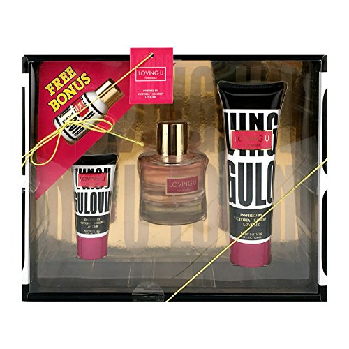 LOVING U Women's 3 Piece Fragrance Gift Set Plus Bonus, Includes. Eau De Parfum, Body Lotion, Shower Gel and Hand Lotion Inspired By Victoria's Secret Love Me