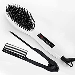 Straight&Shine Hair Straightening Brush with LCD Display, Auto Shut Off Buttons bundle with Styling comb, Velvet Travel Bag and Cleaning Cloth