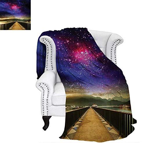 Digital Printing Blanket Galaxy Cosmos Wooden Bridge Panoramic View Celestial Space Print Lightweight Blanket 60