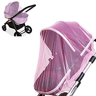 2 Pack Baby Mosquito Net for Strollers, Car Seats, Bassinets, Carriers and Cradles - Stretched up to 60 Inch in Length, Pink