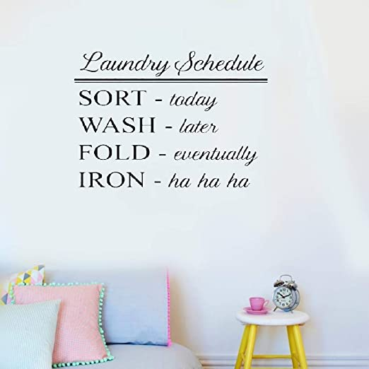 Laundry Schedule Sort Wash Vinyl Wall Art Home Quote Decal Sticker Decoration