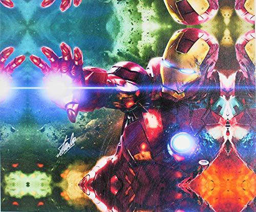 - Stan Lee Marvel Authentic Autographed Signed Memorabilia 16x20 Iron Man Canvas Autographed Signed Memorabilia PSA/DNA #W18515