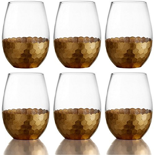 Fitz and Floyd Daphne Gold Stemless Glasses, Set of 6