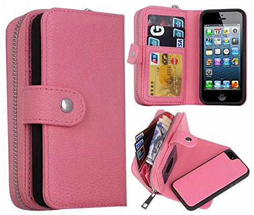 iPhone 5S/SE Wallet Case, HYSJY Magnetic Detachable PU Leather Wallet Purse For Women Men with Zipper , Credit card Slots, Card Holer,Flip Slim Cover Case Fit iPhone 5/5S/SE (ZIP-Pink)