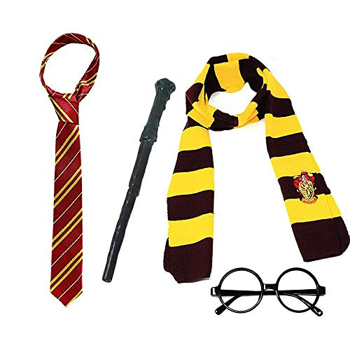 Magic Harry Wand Set Novelty Glasses Striped Knit Scarf Satin Tie with College Badge Party Favors Accessories Halloween Dress up Cosplay Costume for Kids Girls Boys