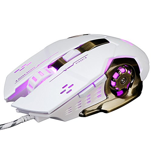 PC Gaming Mouse USB Wired 6 Programmable Buttons Game Mice for DELL,HP  Computer / Laptop with Windows / XP Vista /, 5 Adjustable DPI Levels,  Breathing