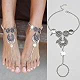 LiCHY Bohemian Fashion Style Silver Antique Hollow-out Women Anklet Bracelet Bohemian Tassels Water Drop Barefoot Anklets Foot Jewelry (Color Antique silver)