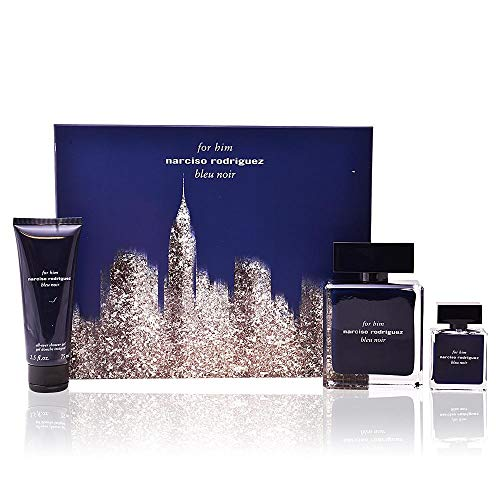 (Narciso Rodriguez Bleu Noir for Him 3 Piece Set Includes: 3.3 oz Eau de Toilette Spray + 0.33 oz Eau de Toilette Spray + 2.5 oz Shower Gel)