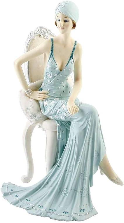 Art Deco Broadway Belles Lady Figurine Blue Teal Colour #00