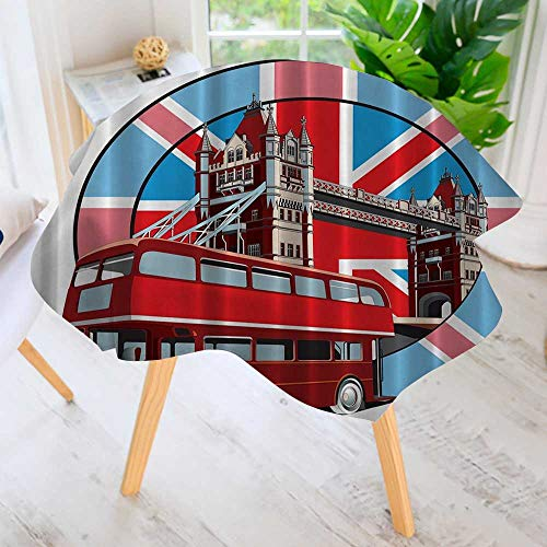 Philiphome Easy-Care Cloth Tablecloth Round-Symbol of Thames River Bridge Memorabilia English Red Bus Drawing Great for Buffet Table, Parties, Holiday Dinner & More 59