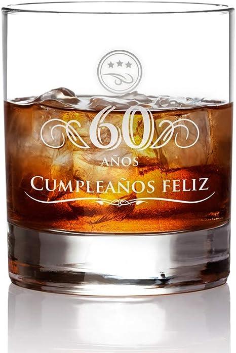 AMAVEL – Vaso de Whisky con Grabado por el 60 Cumpleaños – Regalos para Hermanos – Regalo para Cumpleaños – Obsequios Personalizados – Mejor Whisky – ...