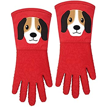 Silicone Oven Gloves Mitts 1 Pair Embroidery Puppy Heat Resistant Extra Long 5 Fingers Flexible Non Slip Food Grade Mittens Kitchen Women Men Pot Holders Cooking Baking BBQ (Puppy, Red)