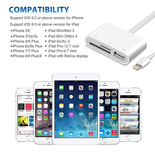 SD Card Reader, Lightning to USB Camera Adapter Memory Card SD/TF Card Reader, Trail Game Camera Adapter for iPhoneX/ 8/ 8plus/ 7/ 7plus/ 6s/ 6s plus/SE/ 5s, iPad Pro/Air/ Mini and iPod by RayCue (Image #4)