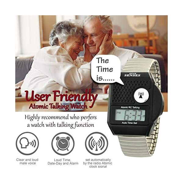Atomic top Button English Talking Watch for Seniors Men Women Talking Loud Sound Talking Clock for Visually impaired only- 5 Senses 1095