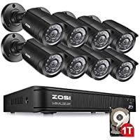 ZOSI 8-Channel HD-TVI 1080P Lite Video Security Camera System ,720p Surveillance DVR Recorder with 8PCS 1.0MP 720p 1280TVL Indoor/Outdoor Weatherproof Bullet Camera with 65ft(20m) Night Vision