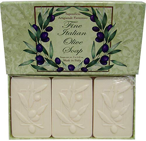 Saponificio Artigianale Fiorentino Decorative Fine Italian Olive Soap Set of 3 x 4.40 Oz Bars