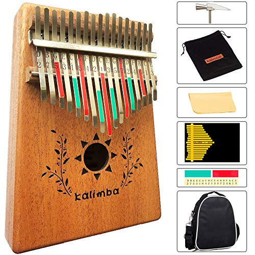 Luvay Kalimba 17 key Thumb Piano with Case Bag, Solid Mahogany Body