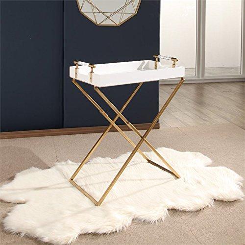 Abbyson Bella Iron Tray Table in White