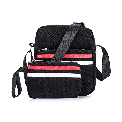 Leaper Canvas Messenger Bag Crossbody Bag Purse Shoulder Bag Pencil Case Black