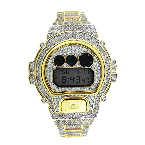 Custom Designer Iced out White Lab Diamond Casio Gshock DW6900 Gold Icy Bling Watch 14kt Gold Ladys Wrist Watch