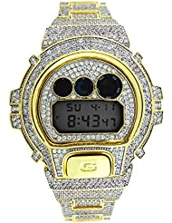 Custom Designer Iced out White Lab Diamond Casio Gshock DW6900 Gold Icy Bling Watch