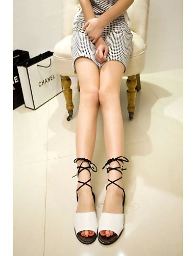 ShangYi Womens Shoes Leatherette Flat Heel Mary Sandals Dress / Casual Black / Brown Black